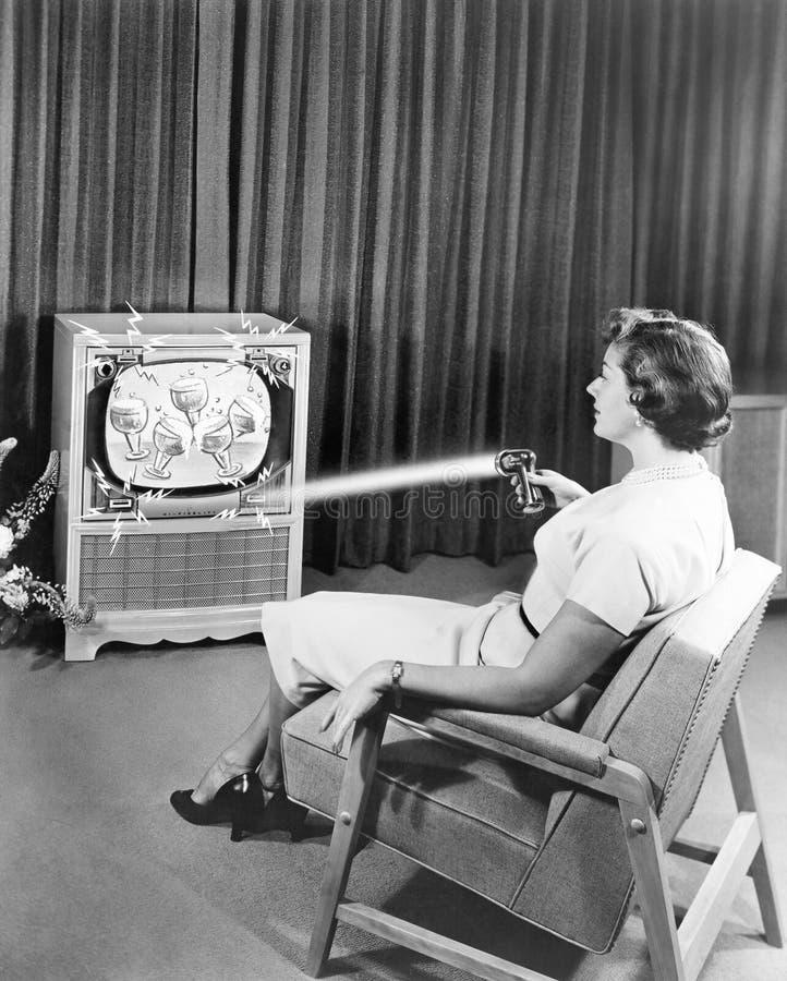 Aparelho de televisão de controle remoto do zênite adiantado, em junho de 1955 (todas as pessoas descritas não são umas vivas mai fotografia de stock