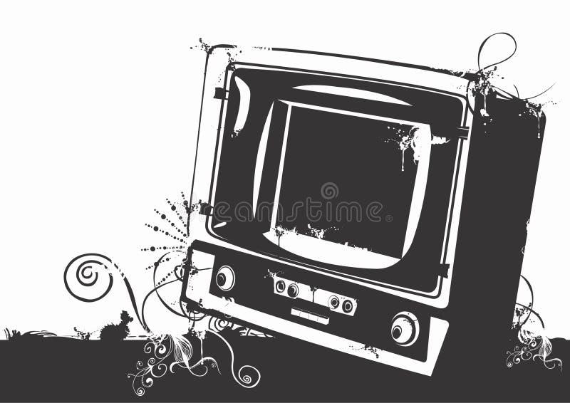 Aparelho de televisão do vintage ilustração do vetor