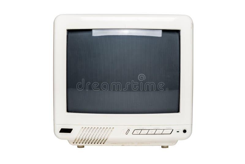 Aparelho de televisão pequeno do vintage com tela vazia fotos de stock royalty free