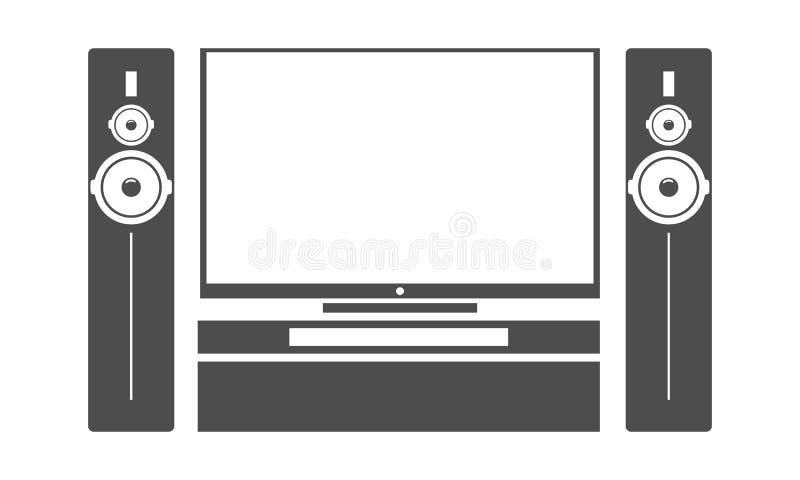 Aparelho de televisão preto liso do cinema da casa com sistema de colunas audio estereofônico do subwoofer Ilustração do vetor ilustração do vetor