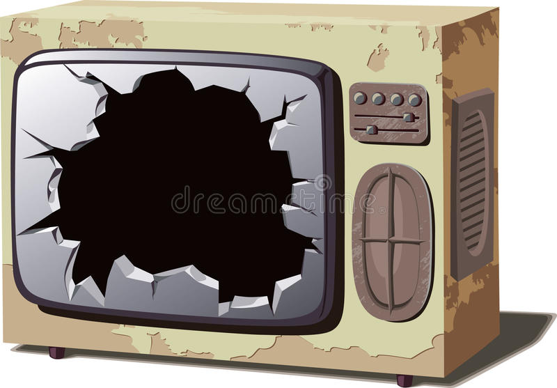 Aparelho de televisão quebrado velho ilustração royalty free