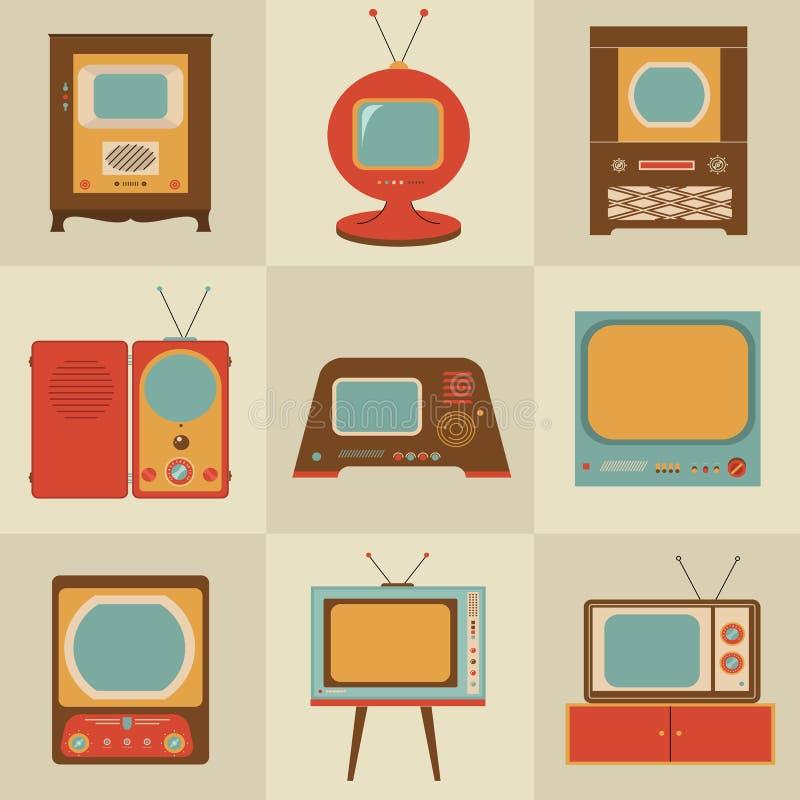Aparelho de televisão retro do vintage ilustração royalty free
