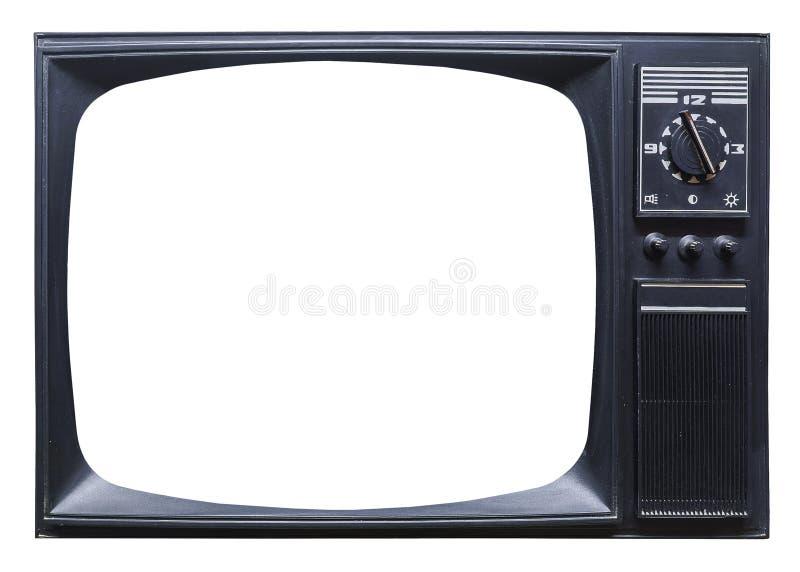 Aparelho de televisão retro velho no fundo branco imagem de stock