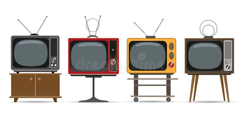 Aparelho de televis?o do vintage ilustração stock