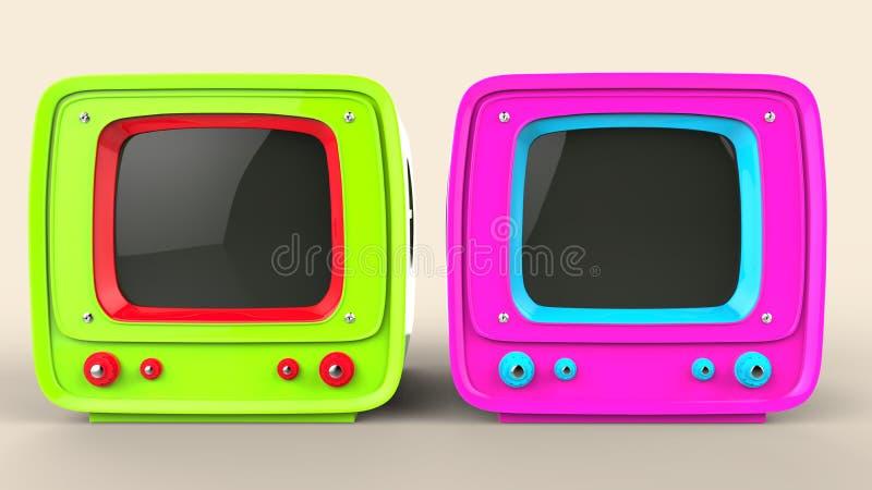Aparelhos de televisão verdes e cor-de-rosa do estilo do vintage ilustração royalty free