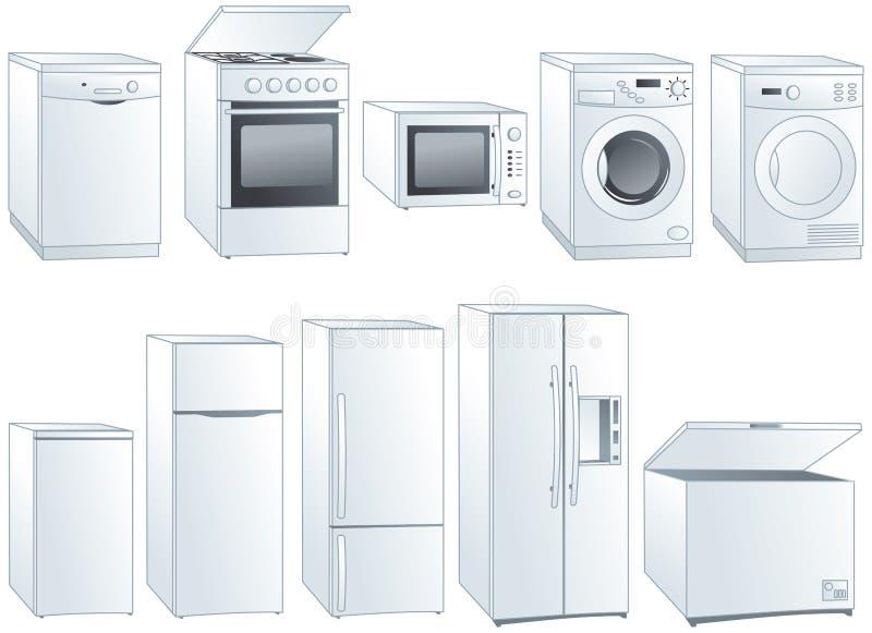 Ilustrações dos aparelhos electrodomésticos ajustadas ilustração stock