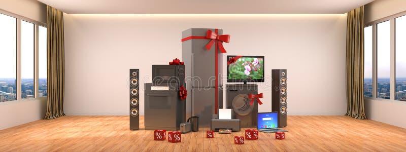 Aparelhos electrodomésticos Fogão de gás, cinema da tevê, refrigerador, micro-ondas, ilustração stock