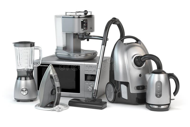 Aparelhos electrodomésticos Grupo de técnicas da cozinha do agregado familiar isolado em w ilustração stock