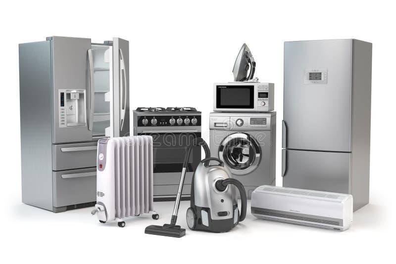 Aparelhos electrodomésticos Grupo de técnicas da cozinha do agregado familiar isolado em w ilustração royalty free