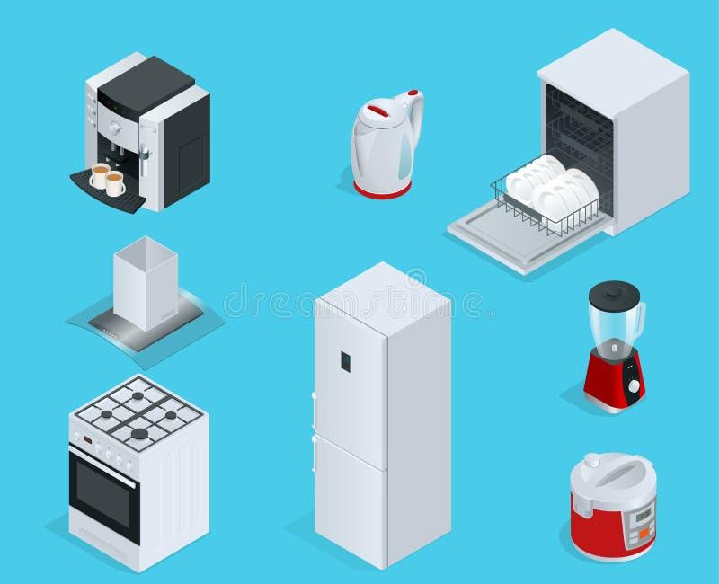 Aparelhos eletrodomésticos isométricos ilustração royalty free