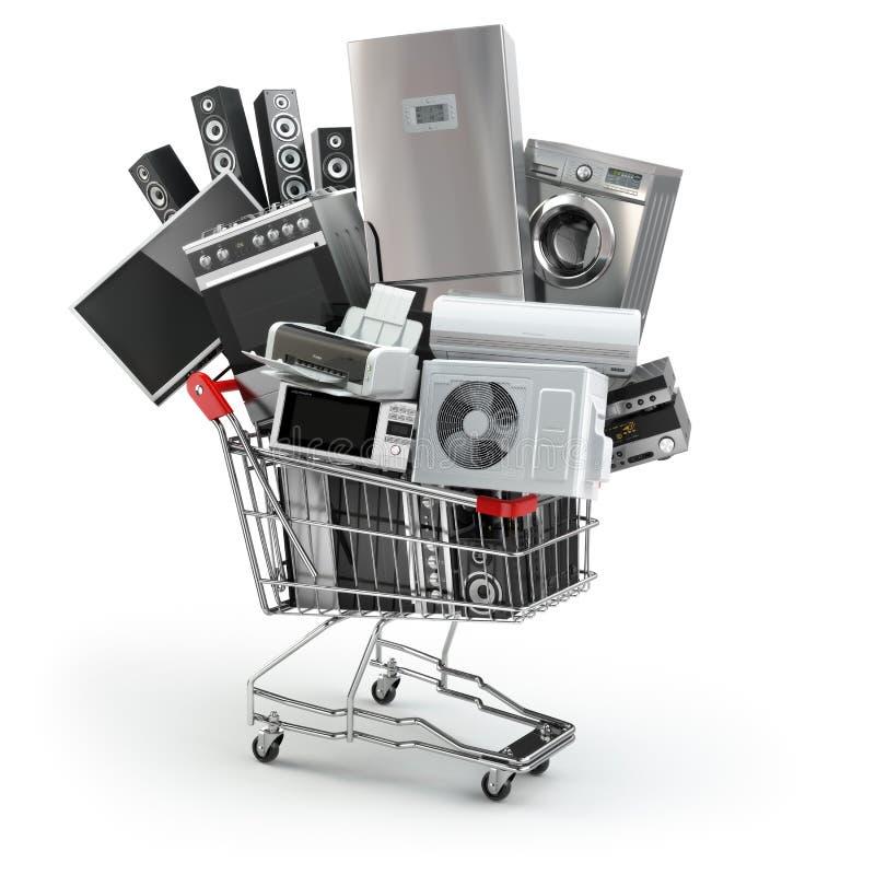 Aparelhos eletrodomésticos no carrinho de compras Comércio eletrônico ou shopp em linha ilustração do vetor