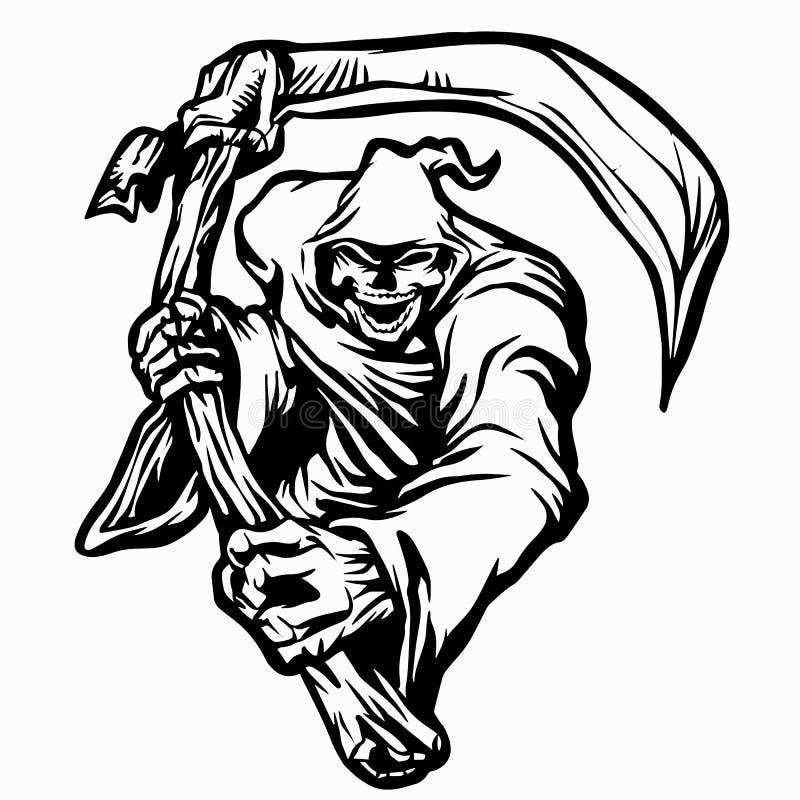 Aparição do fantasma do Ceifador preto e branco ilustração stock