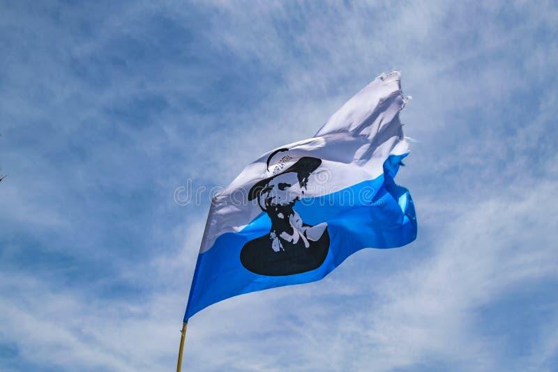 Aparicio Saravia Flag, Political Act Celebration, Montevideo, Uruguay stock image