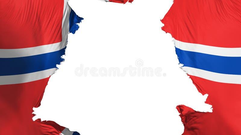 Apart gescheurde de vlag van Noorwegen royalty-vrije illustratie