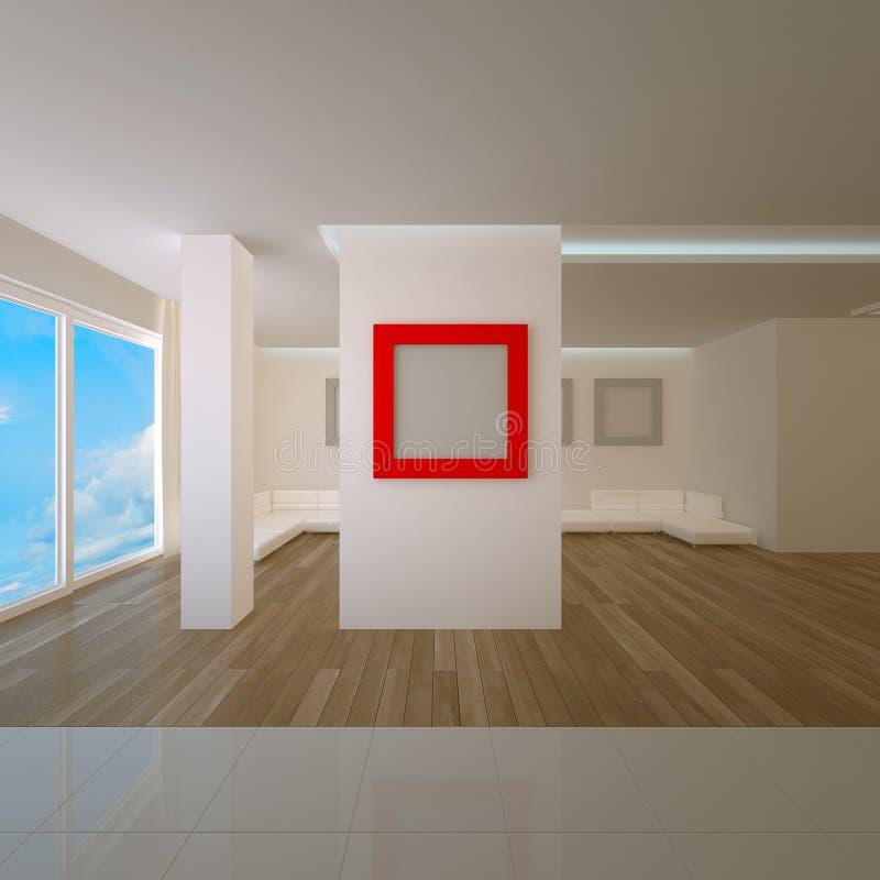 apartament na najwyższym piętrze deskowa wewnętrzna czerwień ilustracji