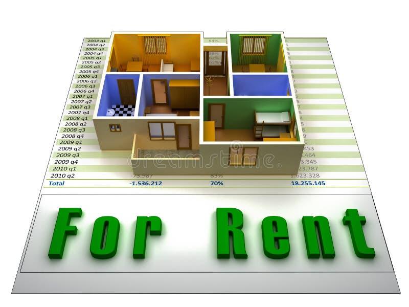 apartamento 3D en un fichero finacial para el alquiler stock de ilustración