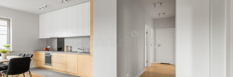 Apartamento blanco del desván con la cocina, panorama imagen de archivo libre de regalías