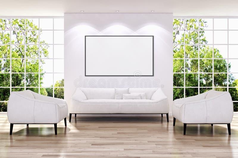 Apartamento brilhante moderno dos interiores com quadro 3D do cartaz do modelo com referência a ilustração stock