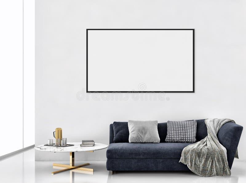 Apartamento brilhante moderno dos interiores com zombaria acima do illu do quadro do cartaz fotografia de stock
