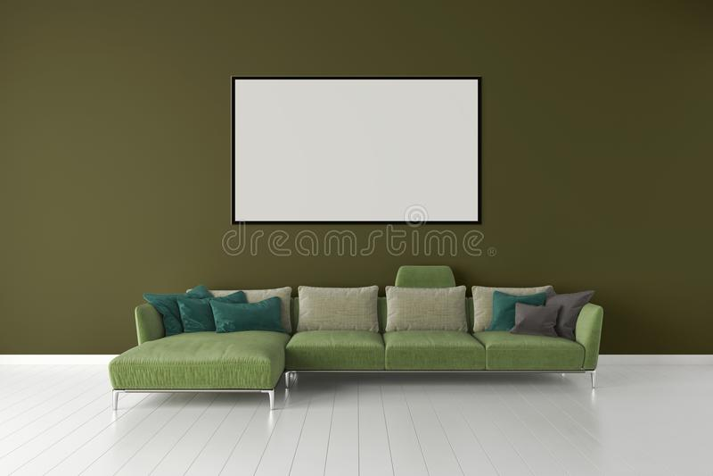 Apartamento brilhante moderno dos interiores com zombaria acima do quadro 3D r do cartaz ilustração stock