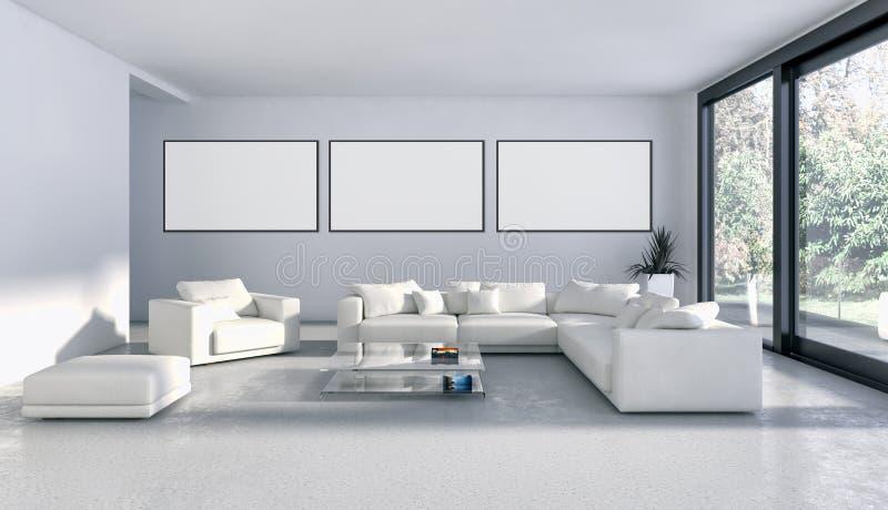Apartamento brillante moderno de los interiores con el marco 3D del cartel de la maqueta con referencia a libre illustration