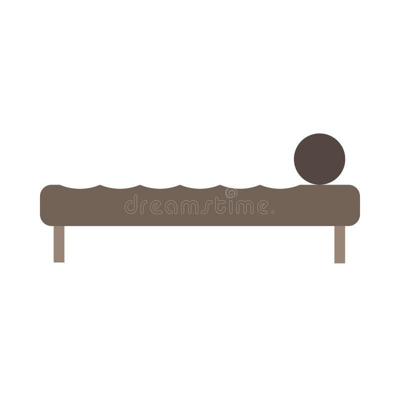 Apartamento c?modo del icono del vector de la vista lateral de la cama Interior de lujo del colch?n del pictograma del sitio del  libre illustration