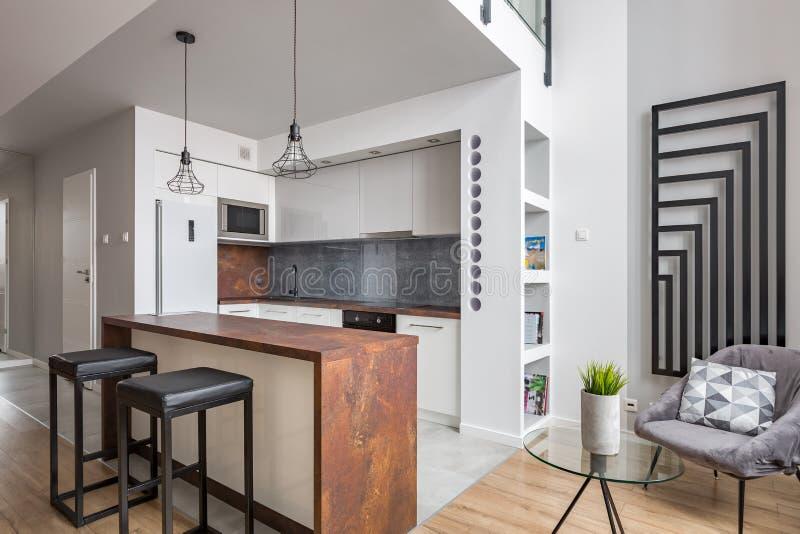 Apartamento com a cozinha aberta funcional imagens de stock royalty free