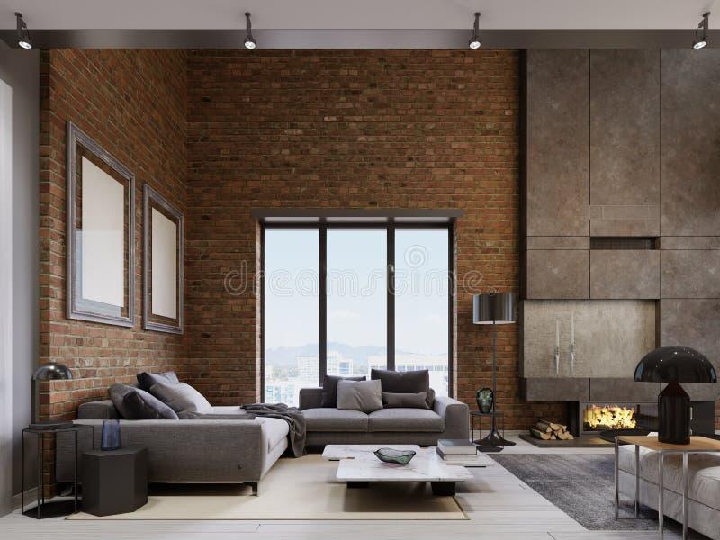 Apartamento del desván con muebles modernos del ith del ½ del ¿del ï de la pared de ladrillo stock de ilustración