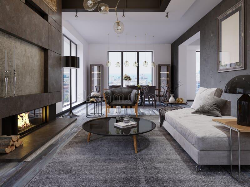 Apartamento a dos caras de lujo del desván-estilo, muebles contemporáneos y paredes de ladrillo con la chimenea del diseñador en  ilustración del vector