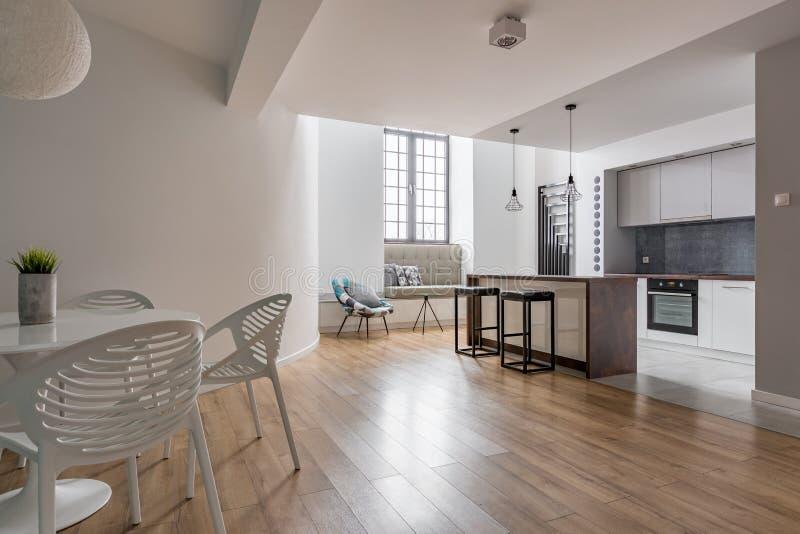 Apartamento elegante con la cocina abierta imagen de archivo libre de regalías