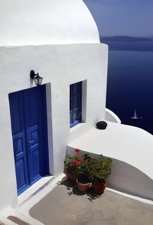 Apartamento em Oia Santorini imagens de stock