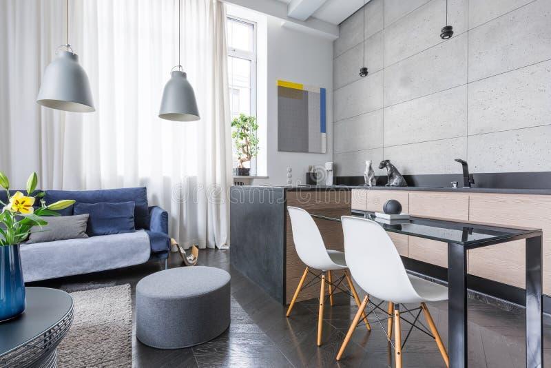 Apartamento-estudio con el cocinilla imagen de archivo