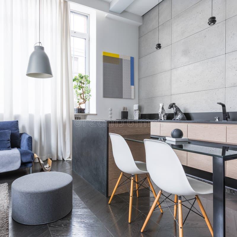 Apartamento-estudio moderno con el cocinilla imágenes de archivo libres de regalías