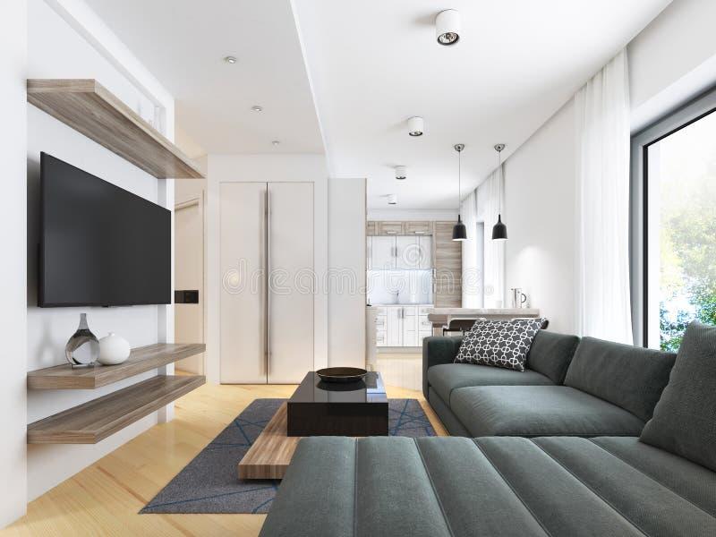 Apartamento-estudio moderno lujoso en estilo contemporáneo libre illustration