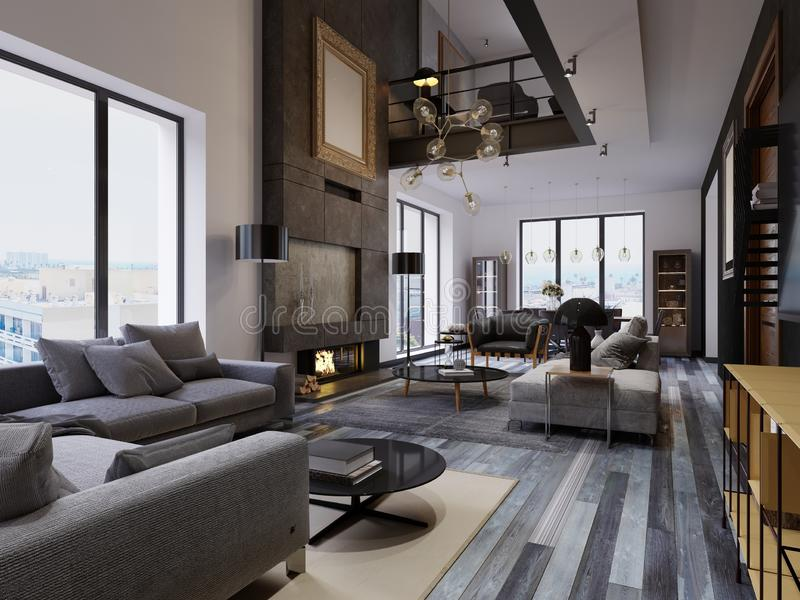 Apartamento frente e verso luxuoso do sótão-estilo, mobília contemporânea e paredes de tijolo com a chaminé do desenhista no inte ilustração stock