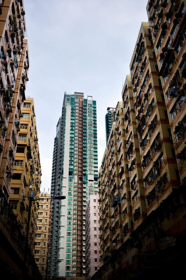 Apartamento high-density do alojamento de Hong Kong fotografia de stock
