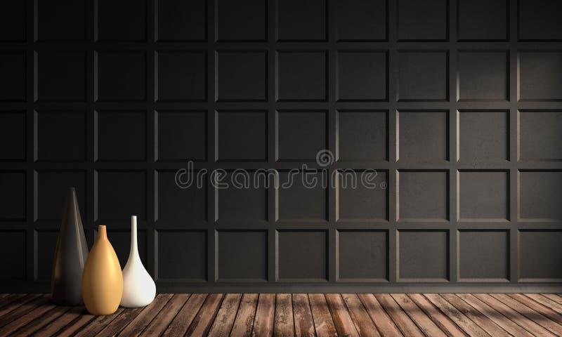 Apartamento lindo com o painel de parede e a decora??o cl?ssicos ilustração royalty free