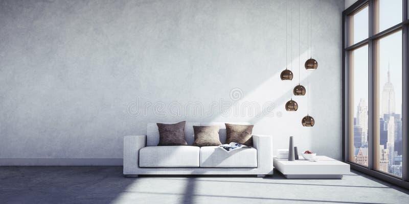 Apartamento moderno con la opinión de la ciudad ilustración del vector