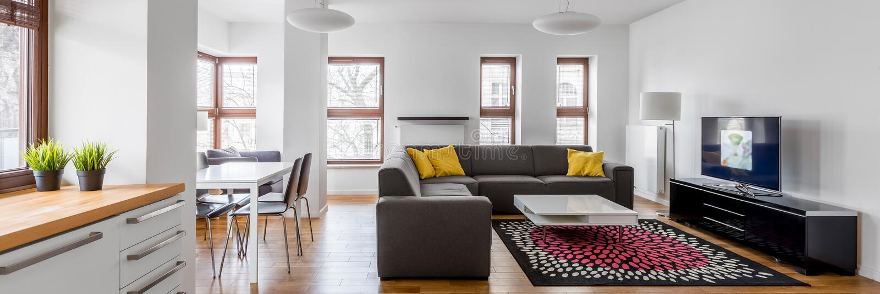 Apartamento moderno e espaçoso com janelas imagens de stock royalty free