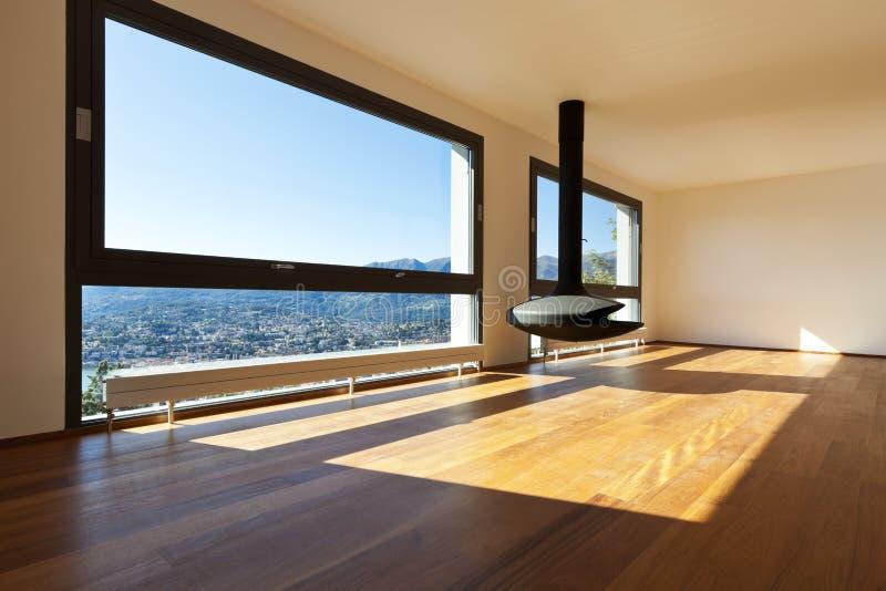 Apartamento moderno, grande sala de visitas foto de stock