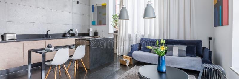 Apartamento multifuncional con la cocina fotos de archivo libres de regalías
