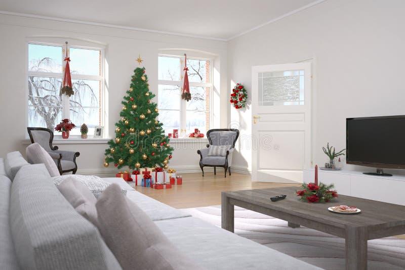 Apartamento - sala de estar - la Navidad imagenes de archivo