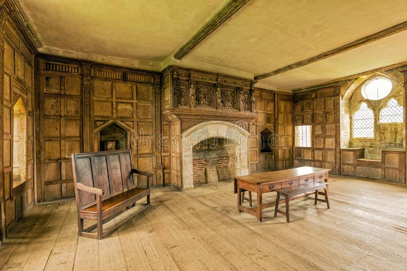 Apartamento solar, castelo de Stokesay, Shropshire, Inglaterra foto de stock royalty free