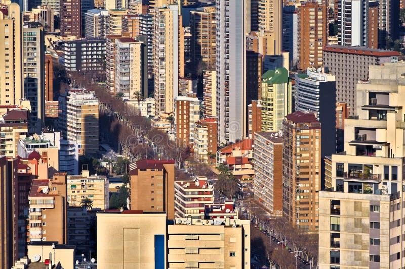 Apartamentos apretados en Benidorm fotografía de archivo