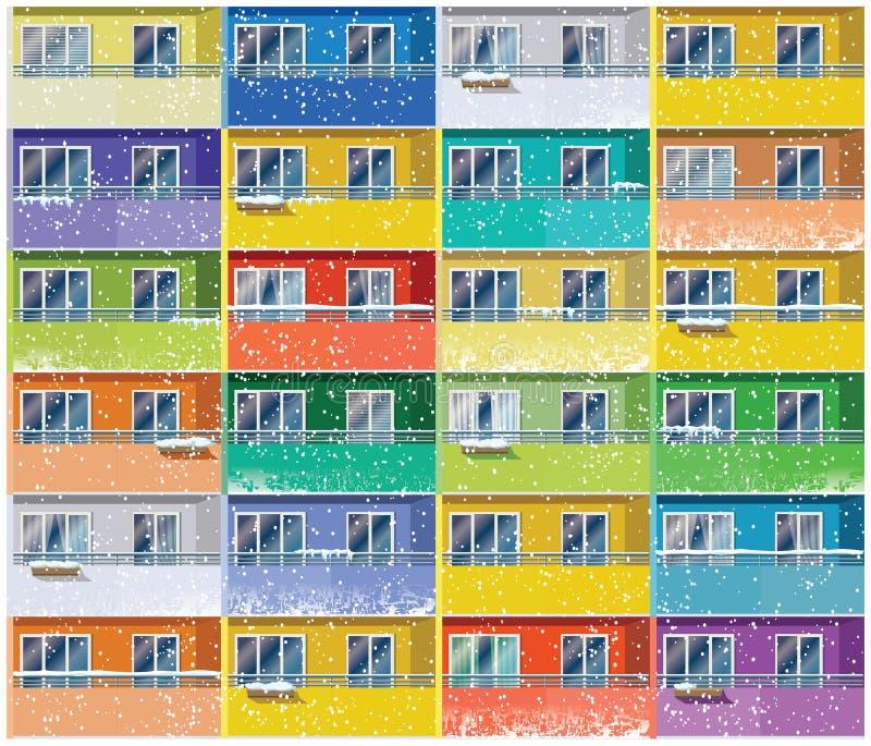 Apartamentos coloridos no inverno ilustração do vetor