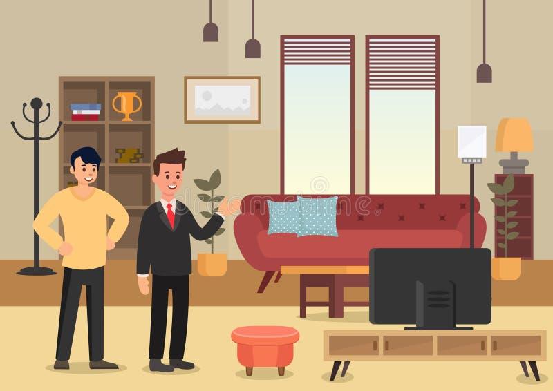 Apartamentos da demonstração Ilustração lisa do vetor ilustração stock