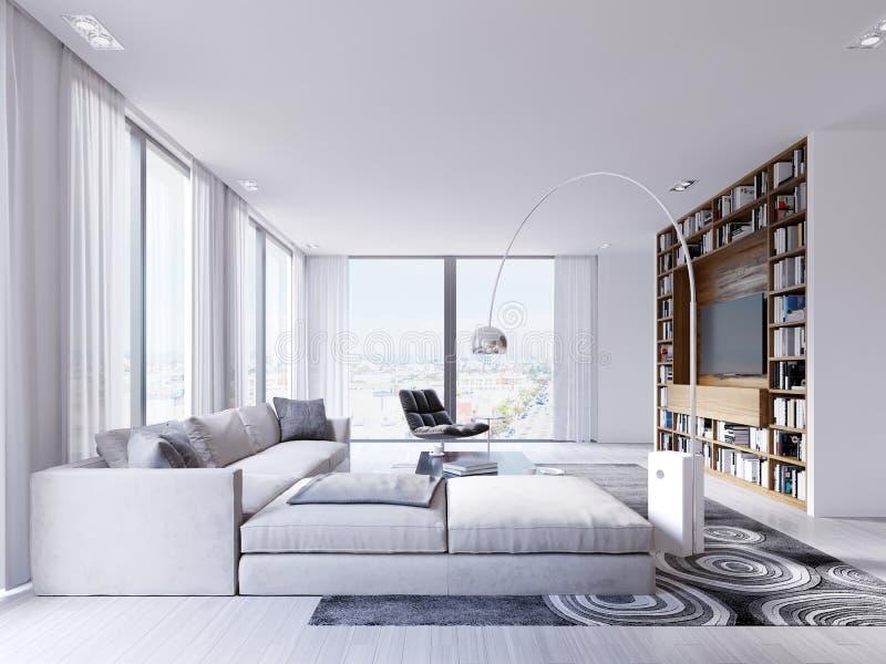 Apartamentos de lujo con un sofá de la esquina blanco en un interior brillante ilustración del vector