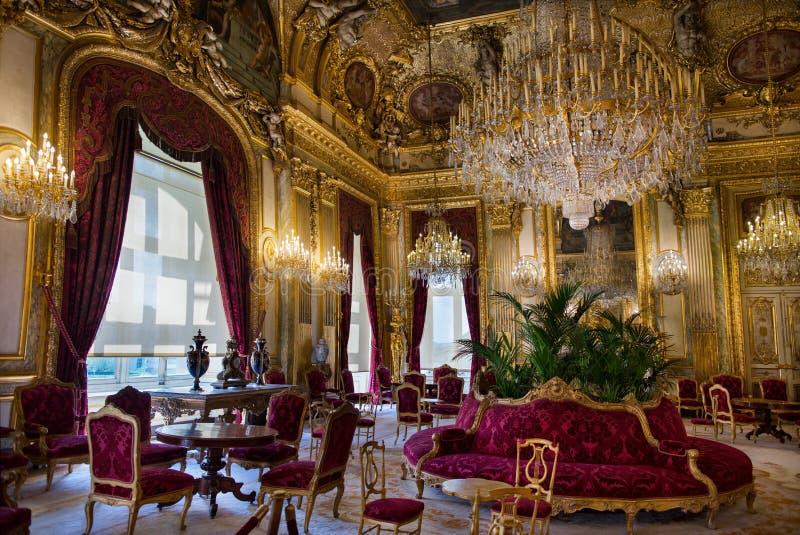 Apartamentos de Napoleon III en museo del Louvre fotografía de archivo
