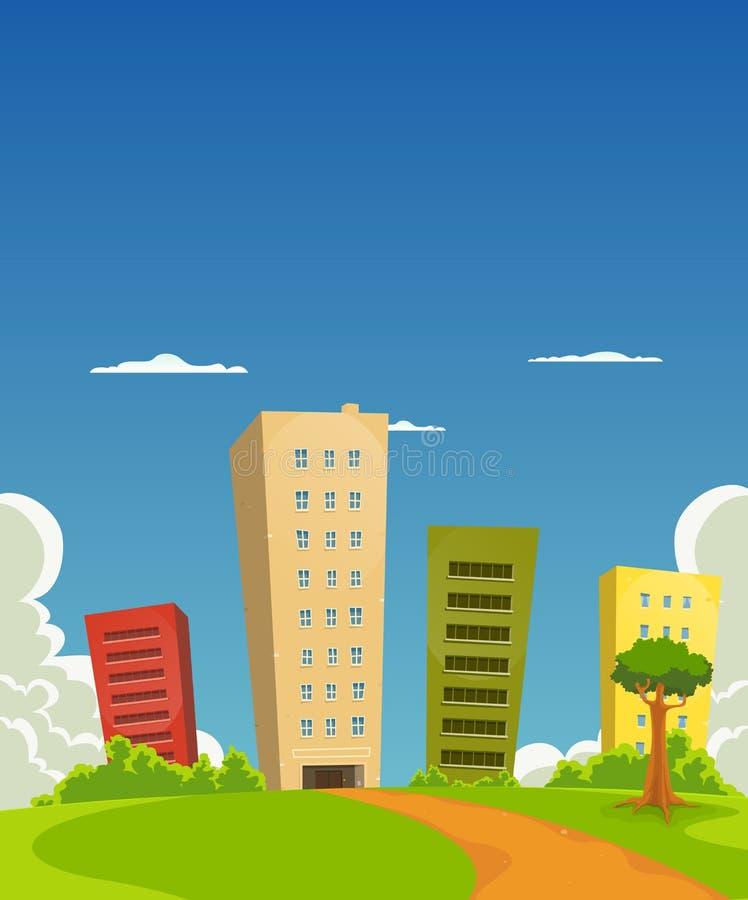 Apartamentos e edifício de escritórios ilustração stock