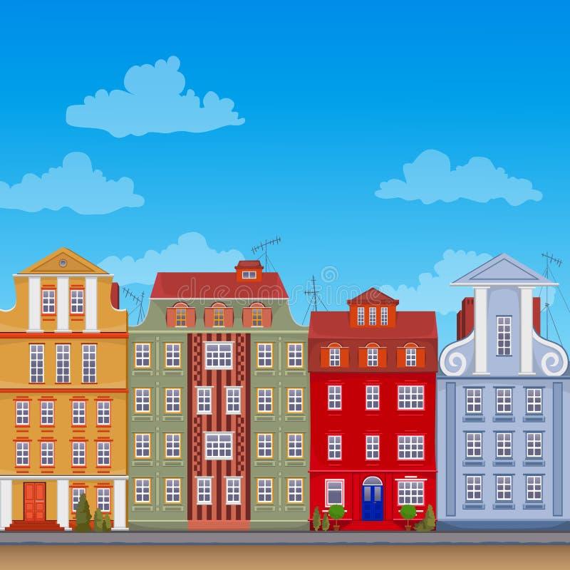 Apartamentos europeos completamente coloridos del vector ilustración del vector